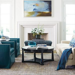 bernhardt neutral sofa blue chairs and accents