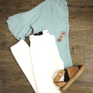 seafoam top dl1961 white jeans all black sandals
