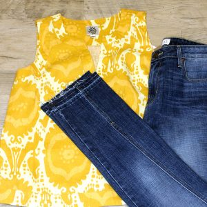 yellow ivy jane sleeveless top parker smith frayed hem jeans