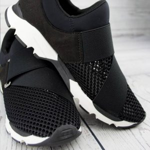 all black buckle wrap mesh sneaker black