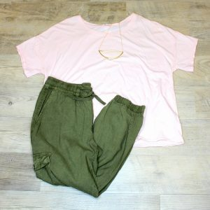 la made pink tshirt sanctuary cargo pants jenny bird necklace