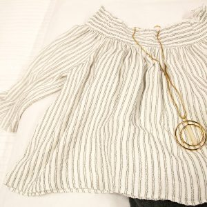 cream pinstripe top jenny bird necklace