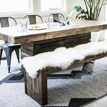 Four hands dining table and chairs