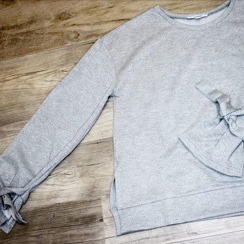 sparkle gray sweatshirt with tie detail sleeves