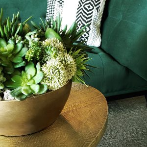 furniture green velvet sofa succulents floral arrangement faux flowers couch home decor