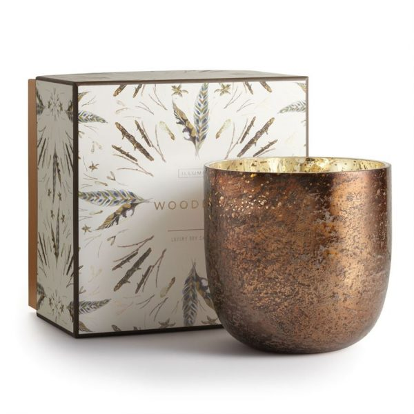 45211219000 Illume Woodfire luxe mercury glass candle best fall