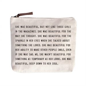 Sugarboo AC242 she was beautiful canvas zip cosmetic pouch