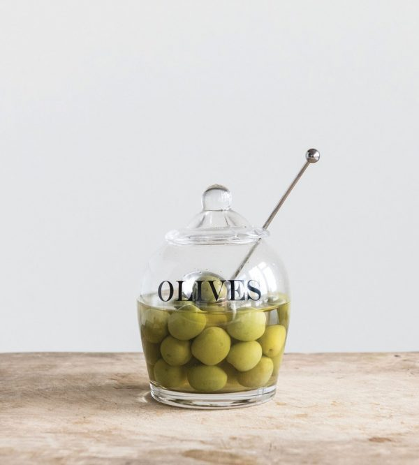 creative coop df1819 glass olive jar kitchenware slotted spoon